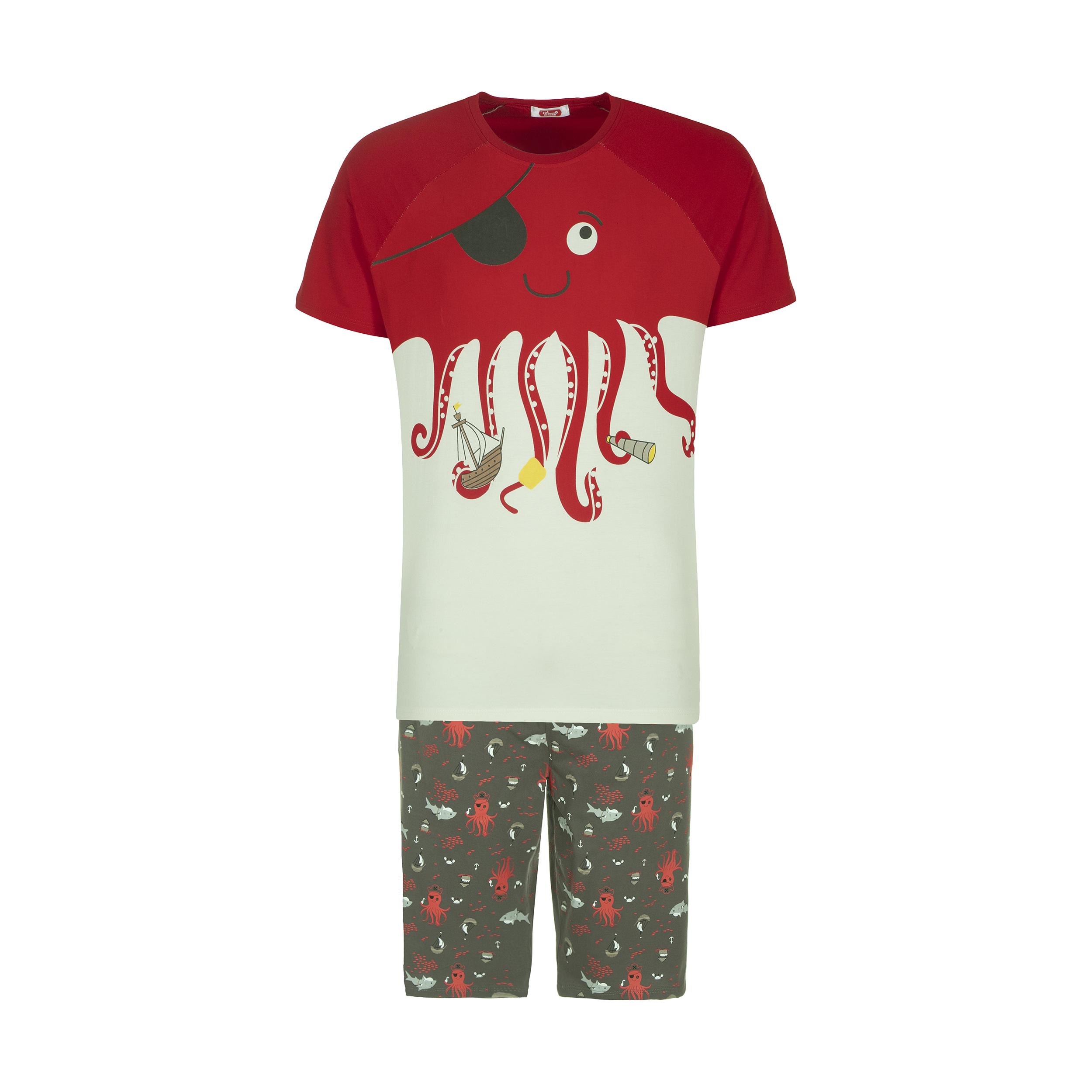 ست تی شرت و شلوارک راحتی مردانه مادر مدل 2041107-74 -  - 2