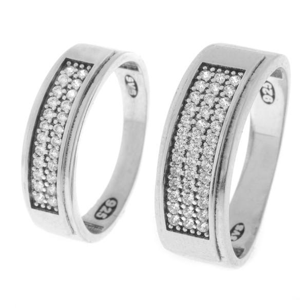 ست انگشتر نقره زنانه و مردانه مدل HS1002