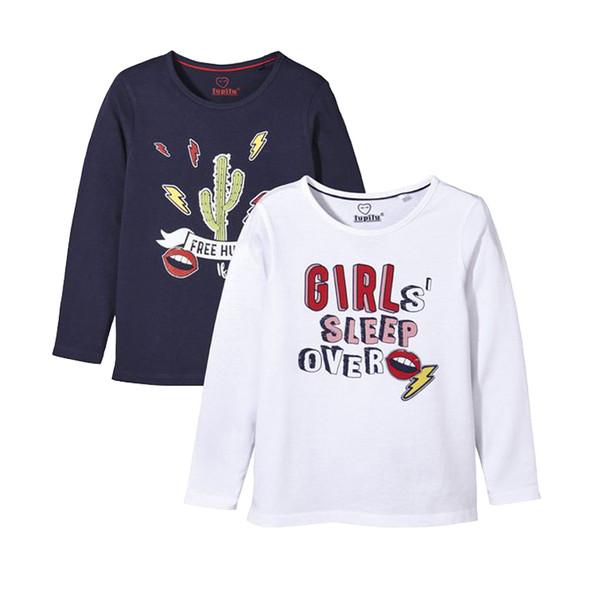 تی شرت دخترانه لوپیلو کد lusp030 مجموعه 2 عددی
