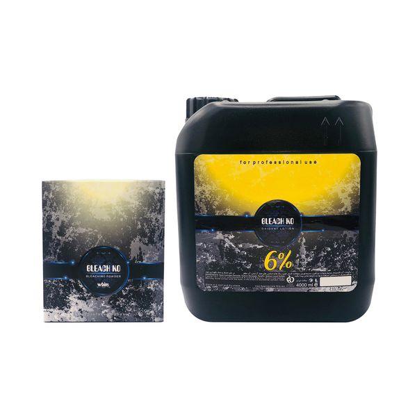 پودر دکلره بلیچ کو مدل WH وزن ۵۰۰ گرم به همراه اکسیدان بلیچ کو مدل 20Vol شش درصدی حجم 4000 میلی لیتر