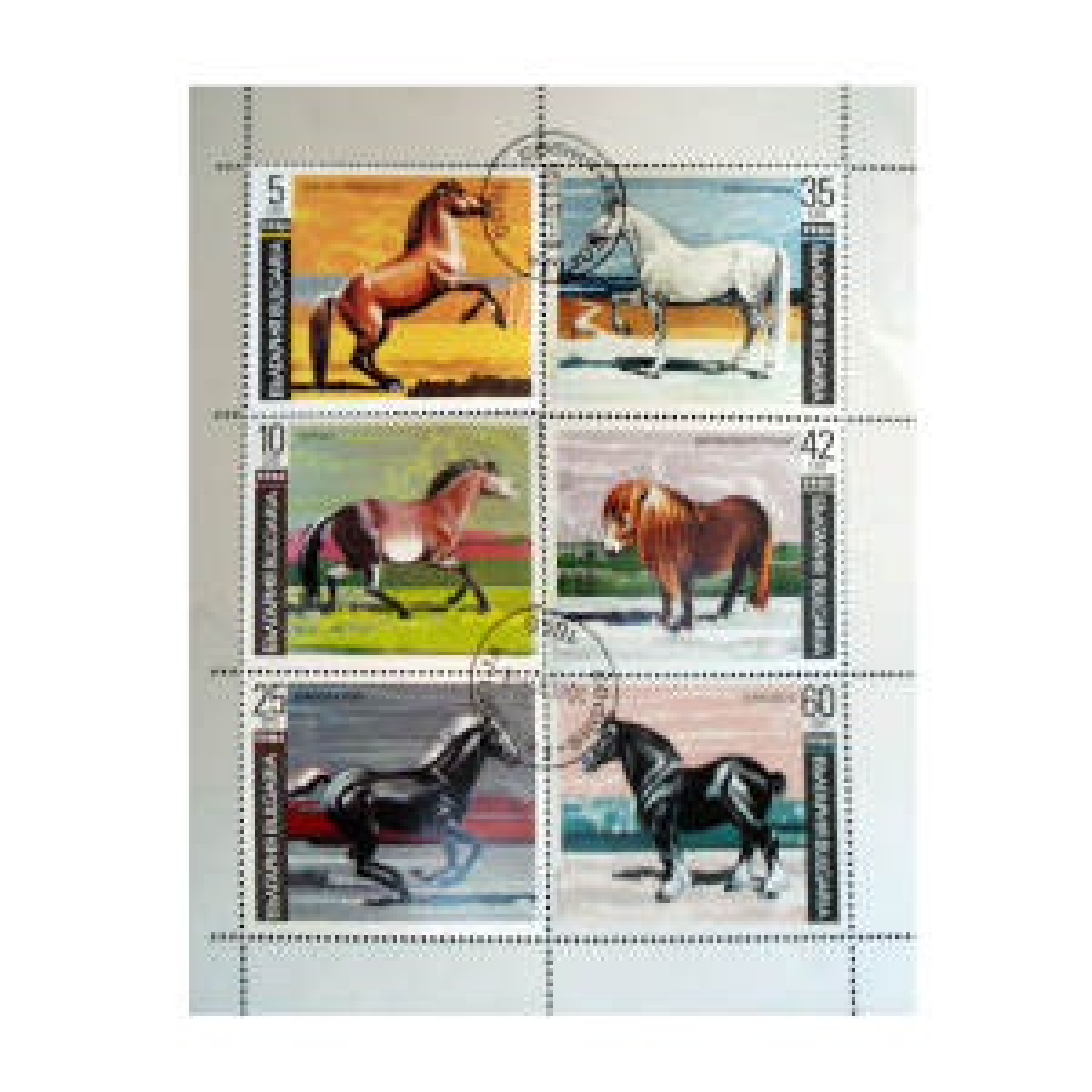 تمبر یادگاری طرح حیوانات مدل اسب کد h-151 مجموعه 6 عددی