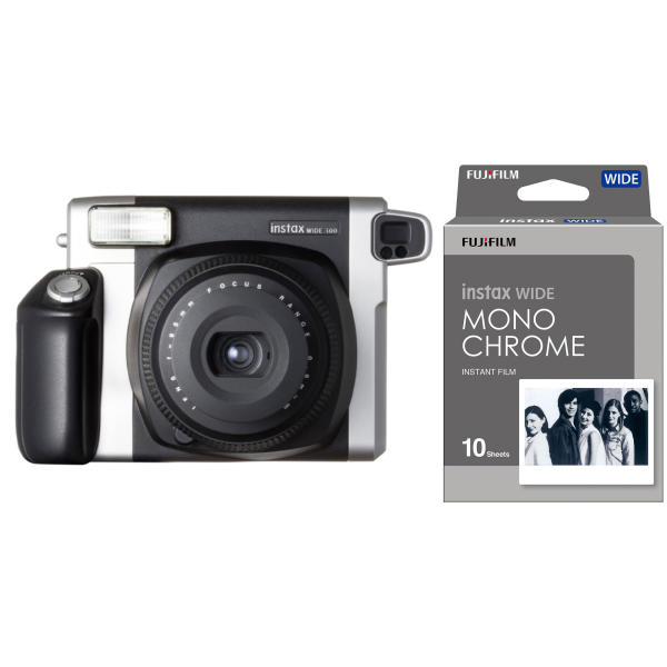 دوربین عکاسی چاپ سریع فوجی فیلم مدل Instax wide 300 به همراه فیلم چاپ سریع فوجی فیلم مدل Instax WIDE Monochrome