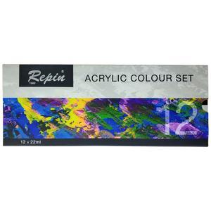 رنگ اکریلیک 12 رنگ رپین مدل 901006 حجم 22 میلی لیتر
