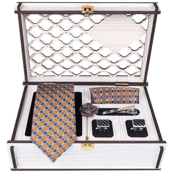 ست کراوات و دستمال جیب و دکمه سردست و گل کت مردانه جیان فرانکو روسی مدل GF-PO836-BOX