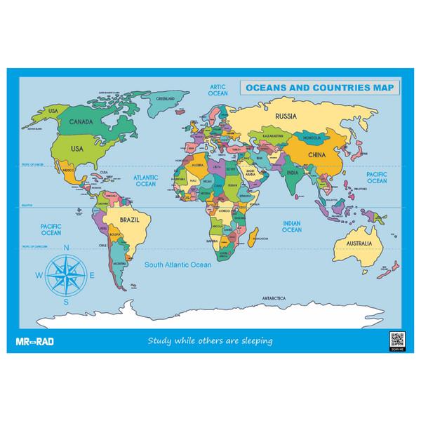 پوستر آموزشی مستر راد طرح نقشه اقیانوس ها و کشورها مدل map10070