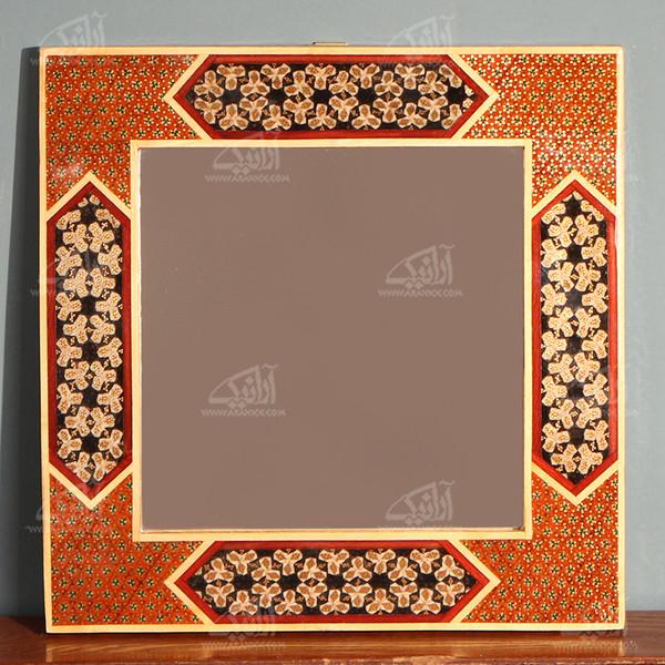 آینه خاتم  رنگ قهوه ای طرح نارنجستان مدل 1509700008