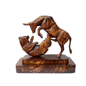 مجسمه چوبی طرح گاو و خرس نماد بورس مدل FR 2020