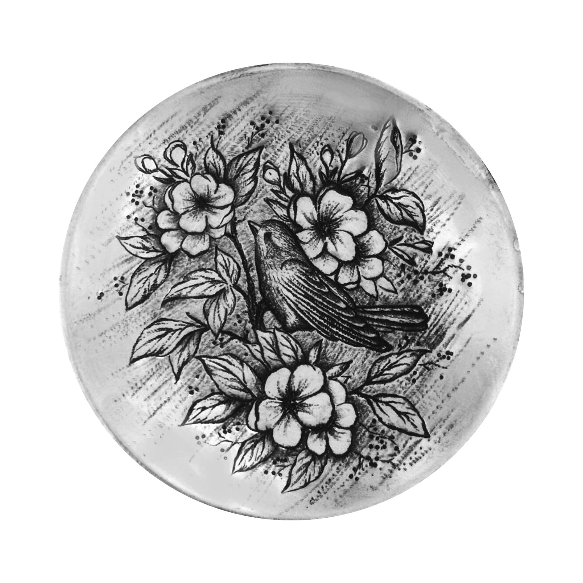 بشقاب دیوارکوب قلمزنی طرح گل و مرغ کد 3