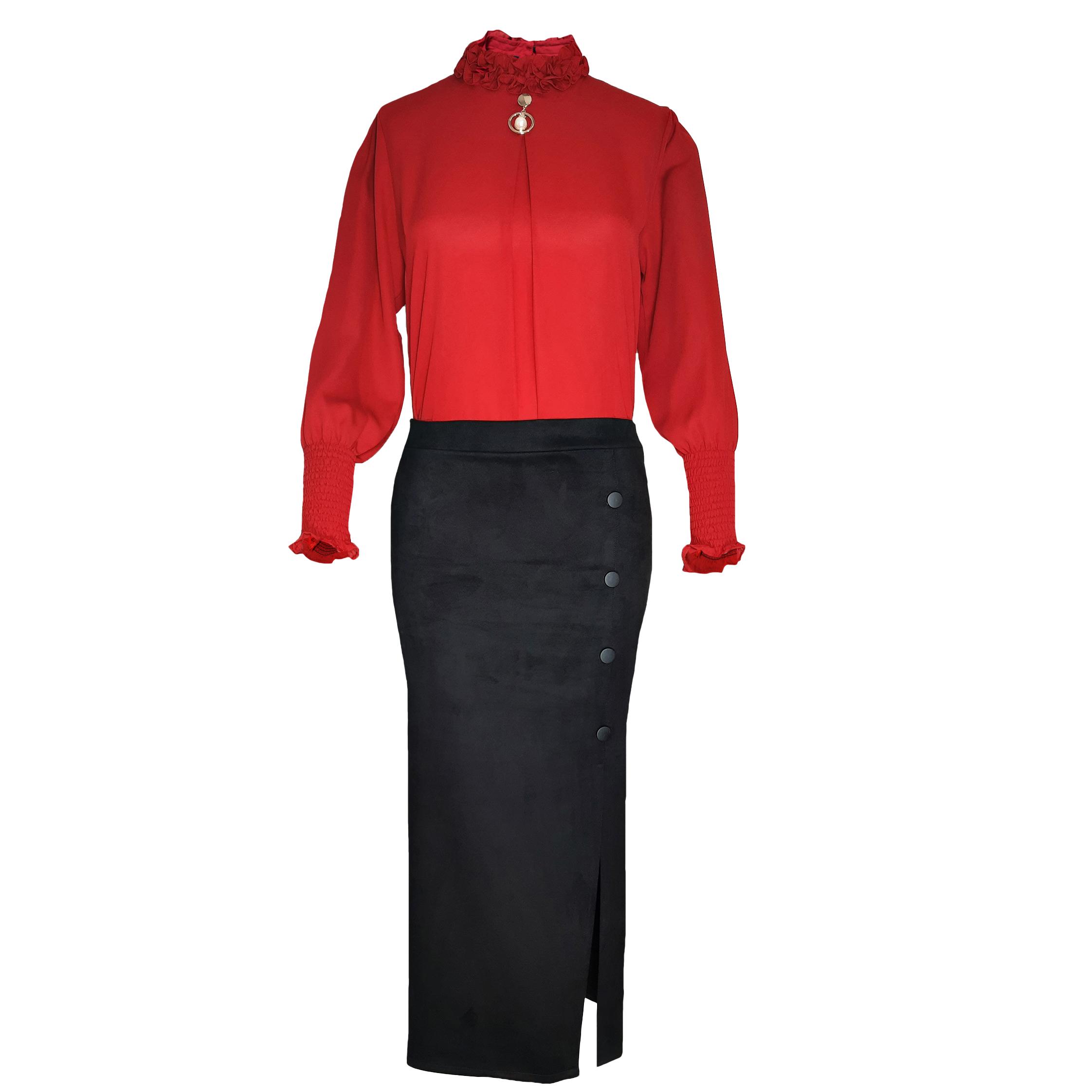 ست بلوز و دامن زنانه مدل se010rb رنگ قرمز