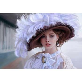 تابلو شاسی طرحنقاشی دختر و کلاه مدل T1112