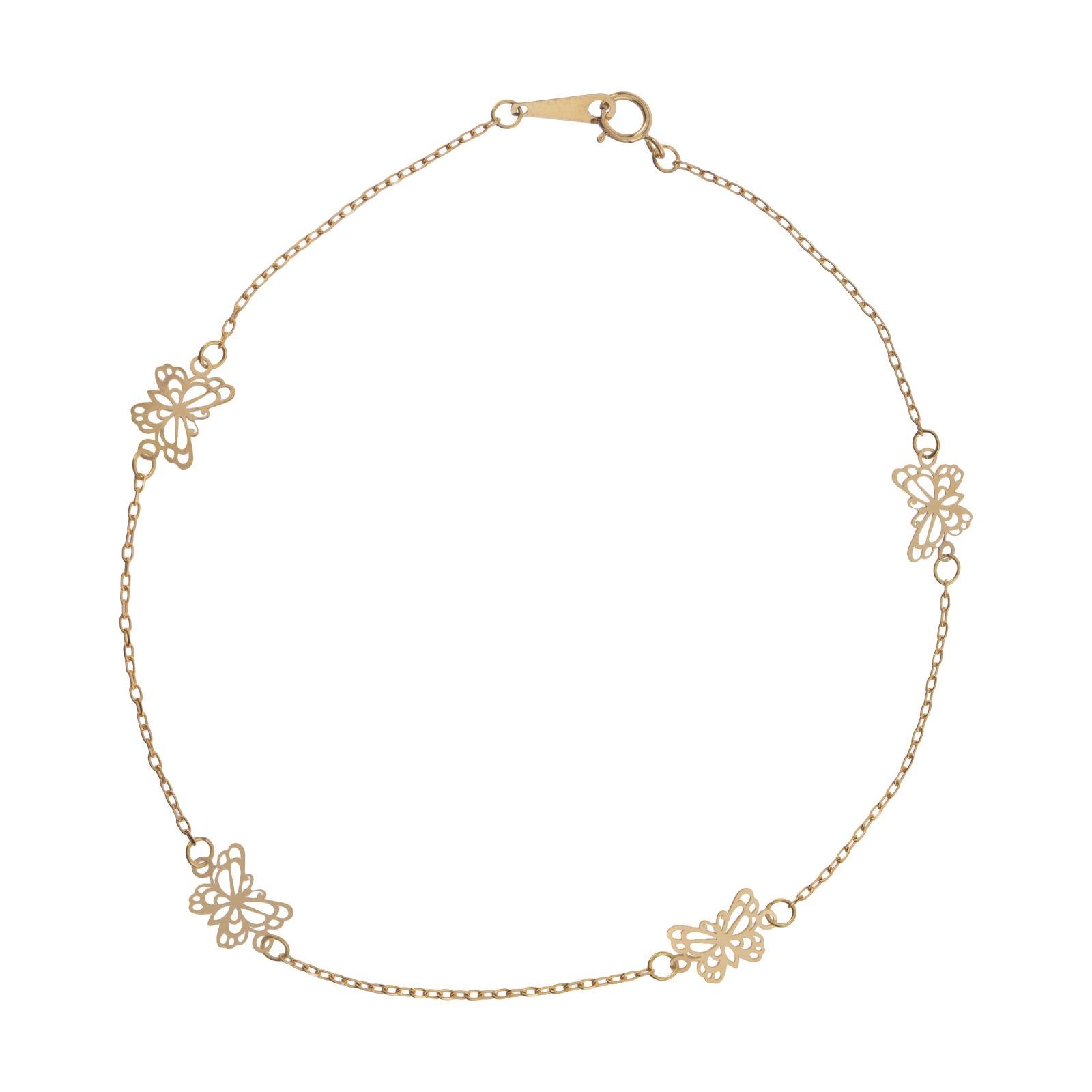 پابند طلا 18 عیار زنانه  گالری یارطلا مدل پروانه کد PA03