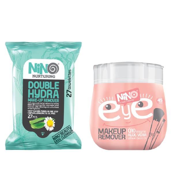 دستمال مرطوب پاک کننده آرایش نینو مدل Double Hydra بسته 27 عددی به همراه دستمال مرطوب پاک کننده آرایش نینو مدل EYE بسته 45 عددی