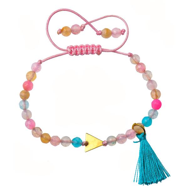 دستبند طلا 18 عیار دخترانه کرابو طرح مثلث مدل Krd1023