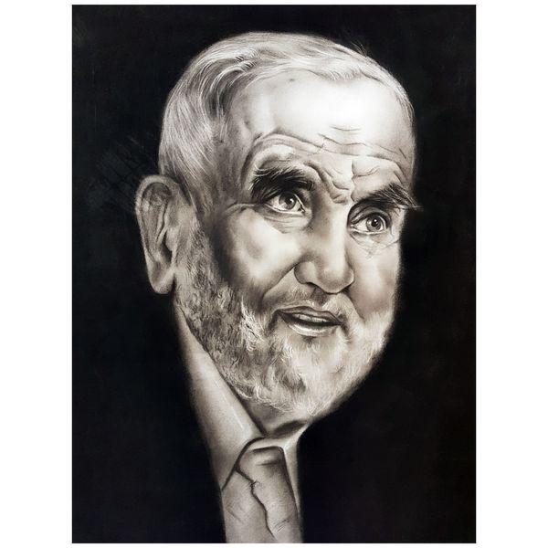 تابلو نقاشی سیاه قلم طرح پیرمرد