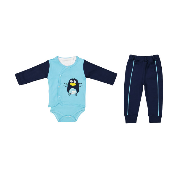 ست 3 تکه لباس نوزادی بی بی وان مدل پنگوئن رنگ آبی کد 492