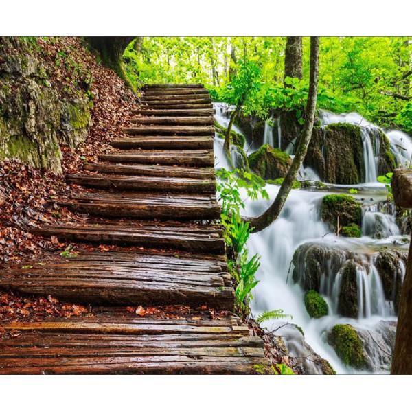 پوستر دیواری مدل جنگل و آبشار کد 008