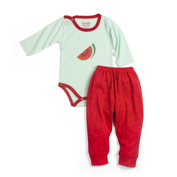 ست بادی و شلوار نوزادی مدل هندوانه کد 20