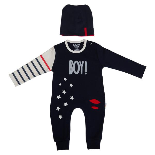 ست سرهمی و کلاه نوزادی بی بی ناز طرح BOY مدل 1002