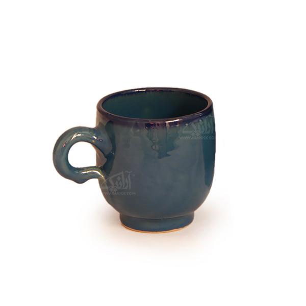 لیوان سفالی آرانیک دسته دار لعاب سادهرنگ آبی تیره طرح ساده مدل 1002900004