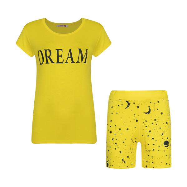 ست تی شرت و شلوارک زنانه افراتین مدل Dream کد 6558 رنگ زرد