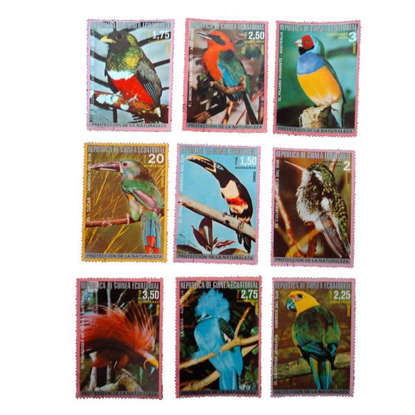 تمبر یادگاری مدل پرندگان کد aa-473 مجموعه 9 عددی