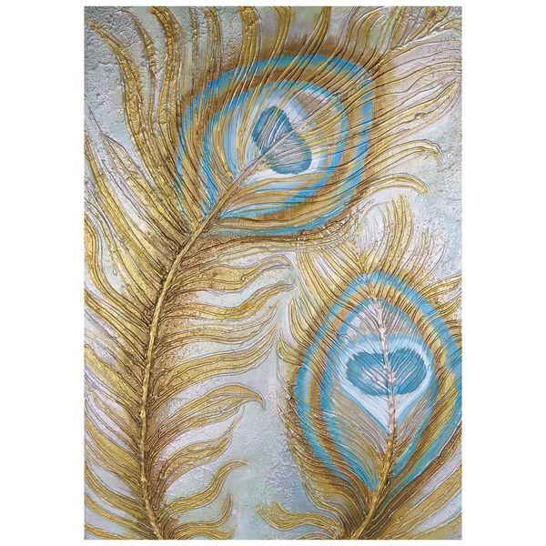 تابلو نقاشی طرح پر طاووس