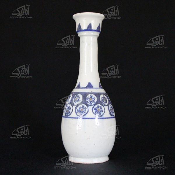 گلدان سفالی نقاشی رولعابی  سفید طرح سکه مدل 1015800009