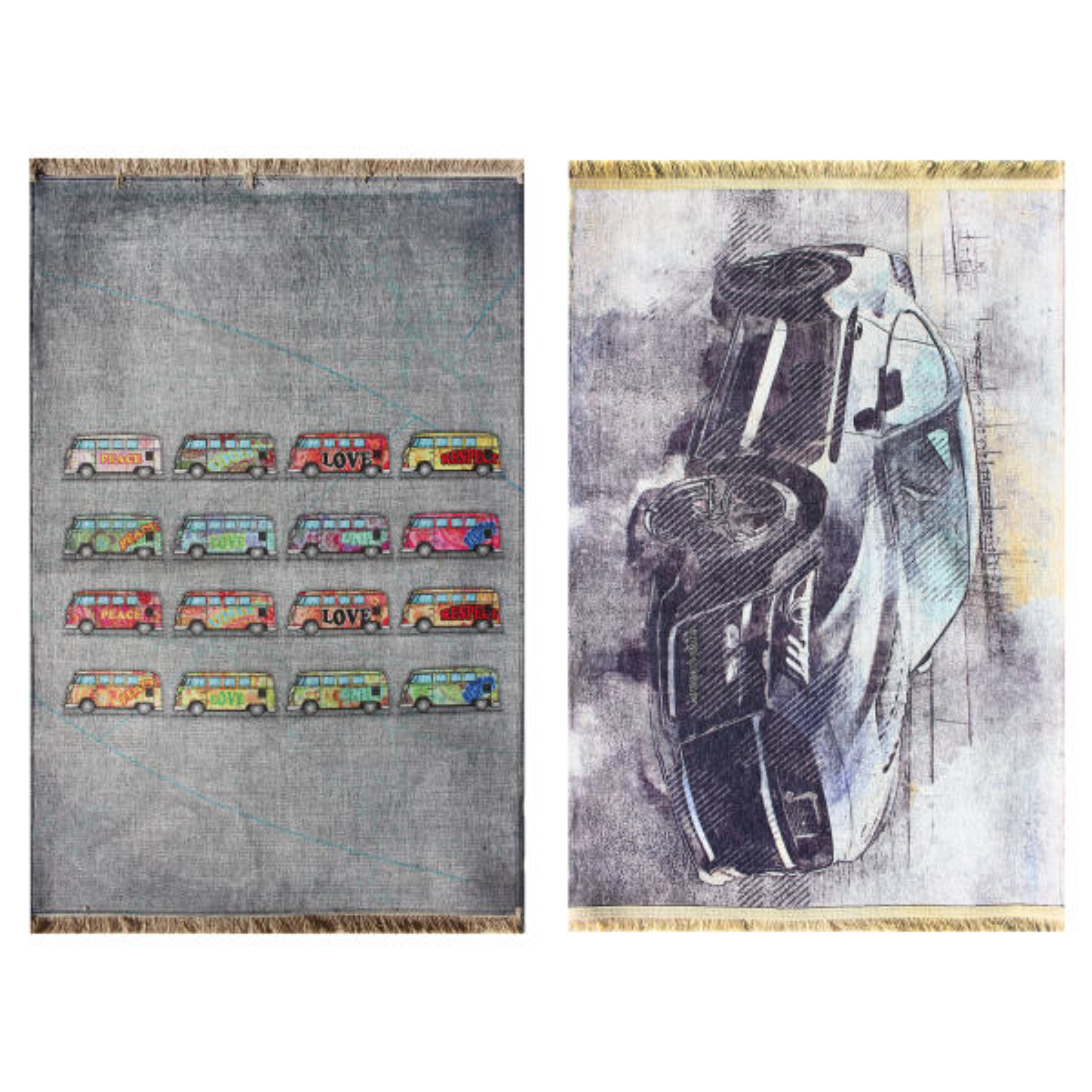 فرش ماشینی دو رو نیروانا مدل The Automobile