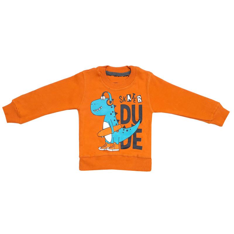 ست سویشرت و شلوار پسرانه طرح دایناسور اسکیت باز کد 3112 رنگ نارنجی