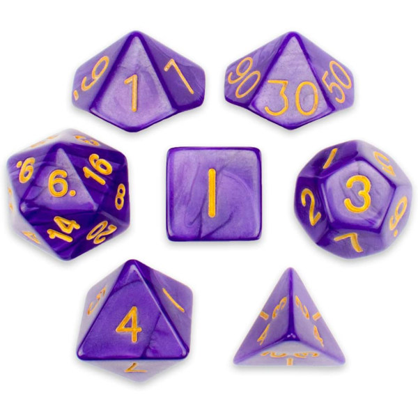 تاس بازی ویز دایس مدل Purple Pearl پک 7 عددی