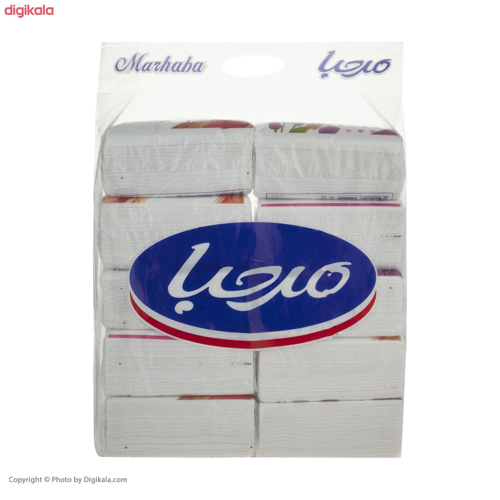 دستمال کاغذی 100 برگ مرحبا مدل Flower بسته 10 عددی main 1 7