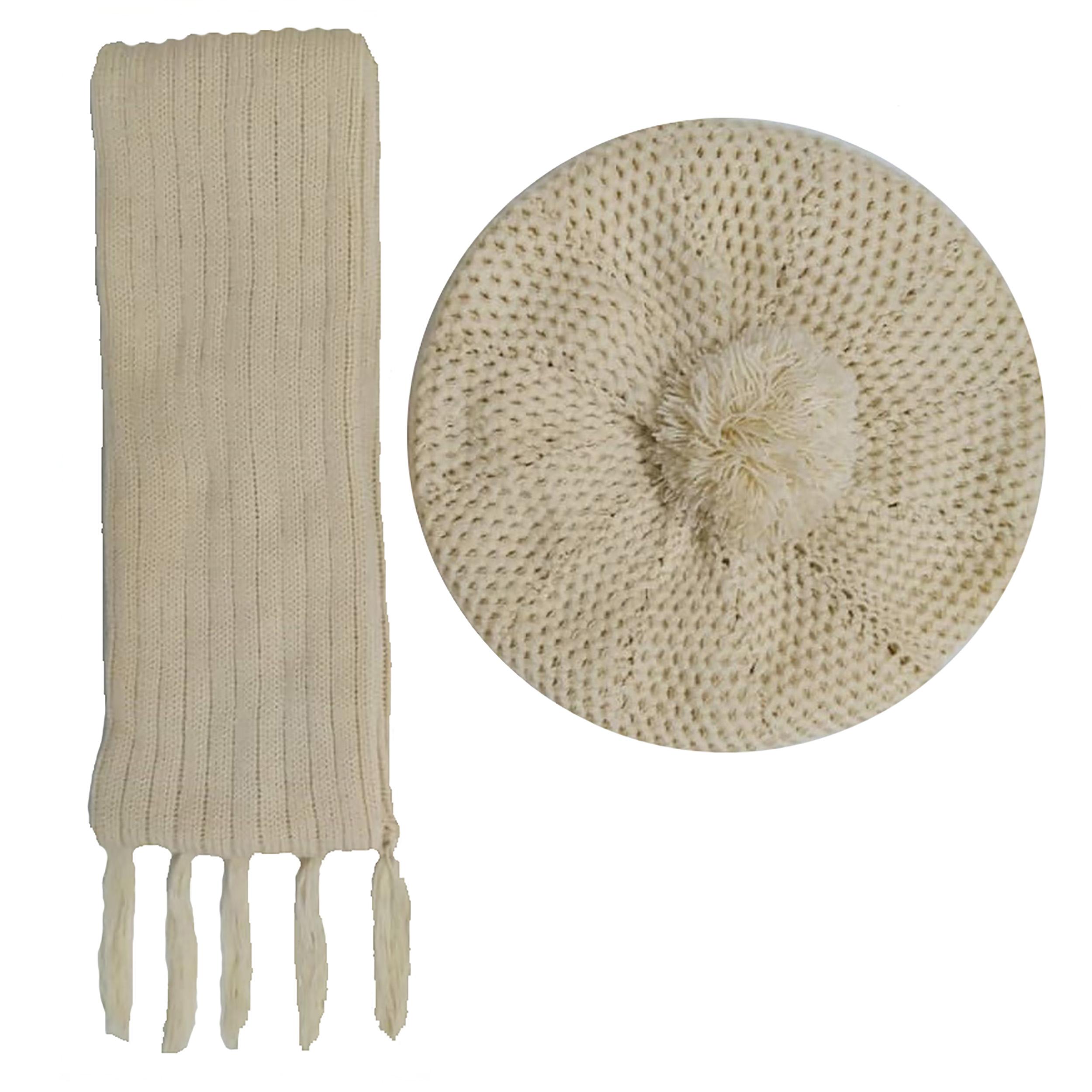 ست کلاه و شال گردن بافتنی زنانه کد B11
