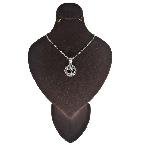 گردنبند نقره زنانه طرح دوقلب کد M1003