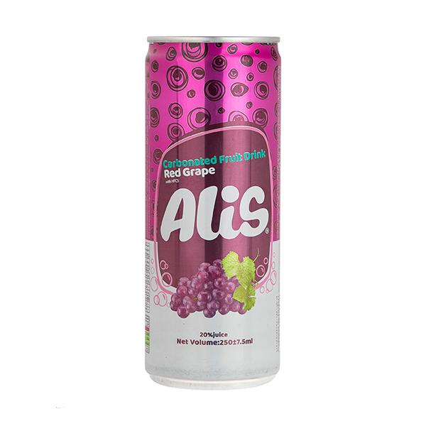 نوشیدنی میوه ای گازدار عالیس با طعم انگور قرمز - 250 میلی لیتر
