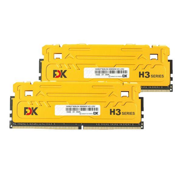 رم دسکتاپ DDR4 دو کاناله 3000 مگاهرتز CL15 فدک مدل H3 ظرفیت 16 گیگابایت