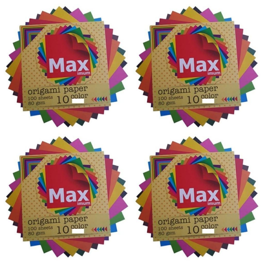 کاغذ اوریگامی مکث مدل رنگین کمان کد K1010 بسته 100 عددی مجموعه 4 عددی