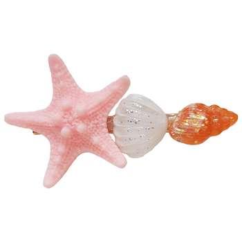 گیره مو زنانه مدل ستاره دریایی و صدف کد SEA2