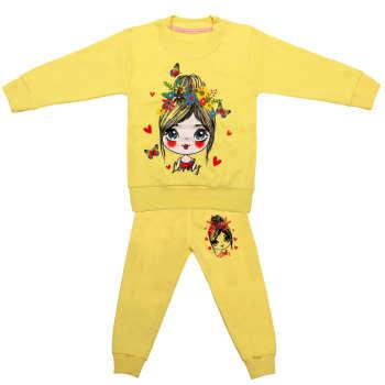 ست سویشرت و شلوار دخترانه مدل LOVELY کد 2 رنگ زرد