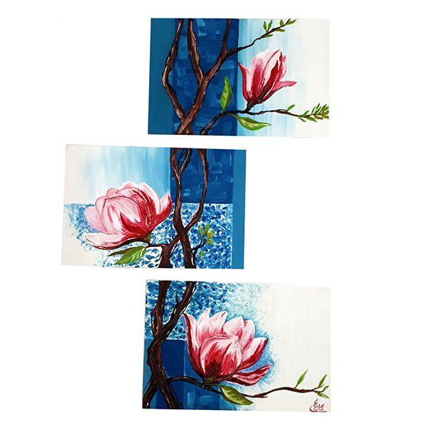 تابلو نقاشی رنگ روغن طرح گل نیلوفر کد 2456 مجموعه 3 عددی