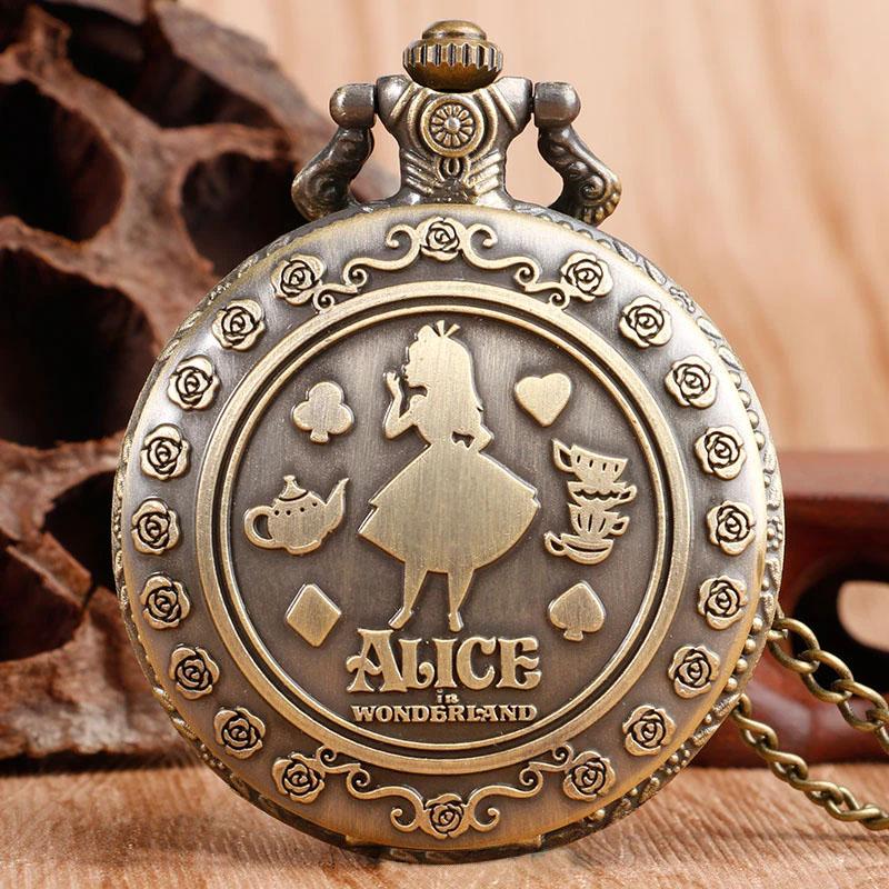ساعت گردنبندی عقربه ای مدل آلیس در سرزمین عجایب