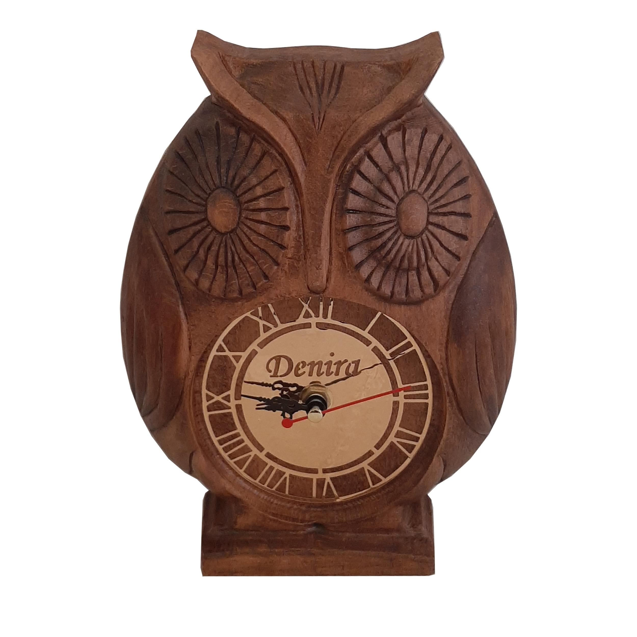 ساعت چوبی دنیرا طرح جغد مدل Owl001
