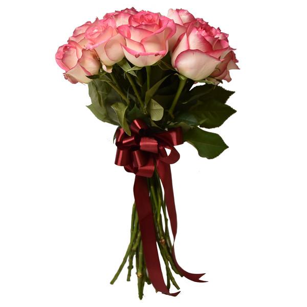 شاخه گل رز هلندی صورتی دسته 20 عددی