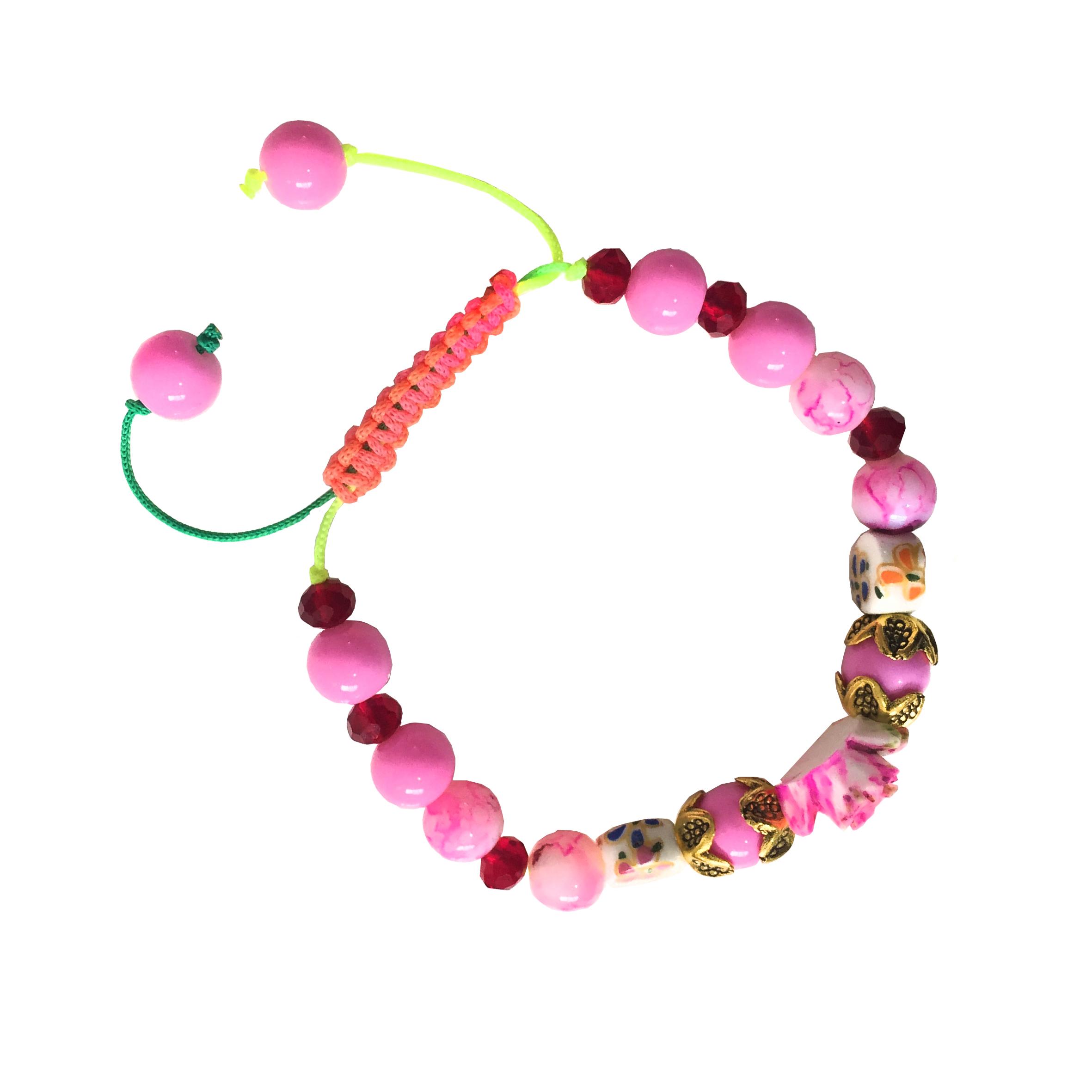 دستبند دخترانه مدل گل رز رنگ صورتی