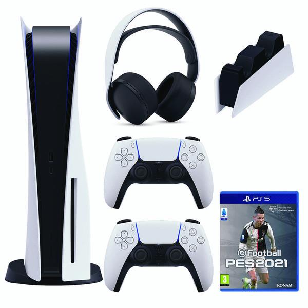مجموعه کنسول بازی سونی مدل PlayStation 5 Drive ظرفیت 825 گیگابایت به همراه دسته اضافی و هدست و پایه شارژ و بازی PES21