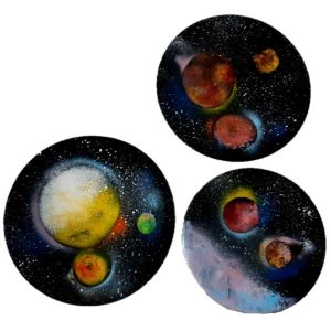 بشقاب دیوارکوب سفالی مدل کهکشان رنگ مجموعه 3 عددی