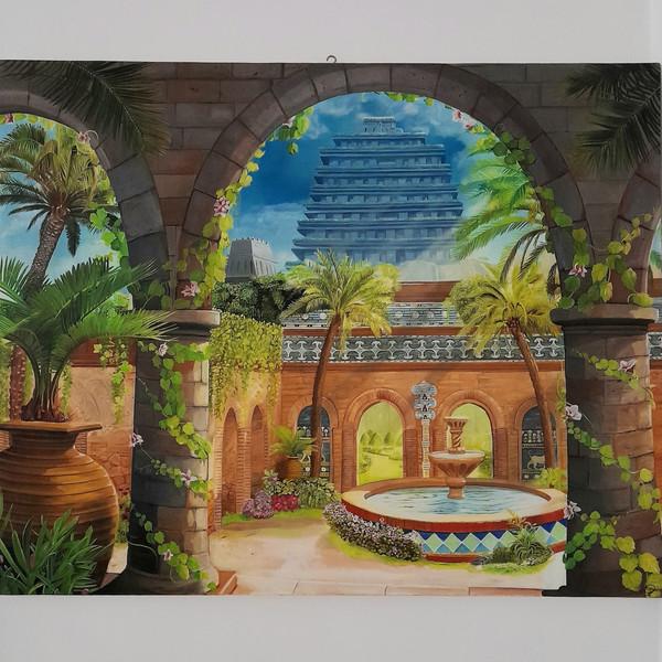 تابلو نقاشی رنگ روغن طرح باغ بابل