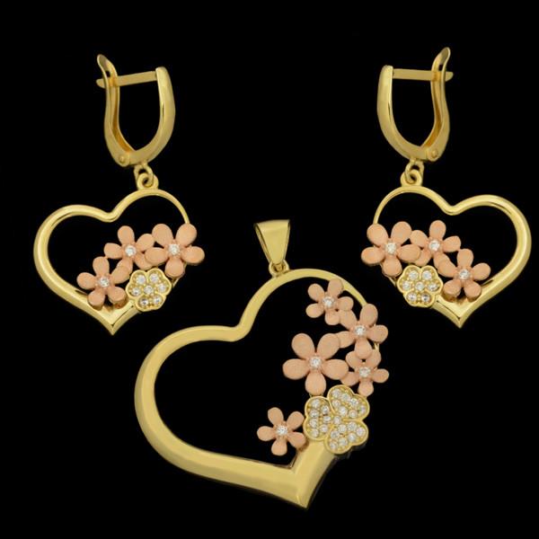 نیم ست طلا 18 عیار زنانه طلای مستجابی مدل قلب گل و پروانه کد 670141