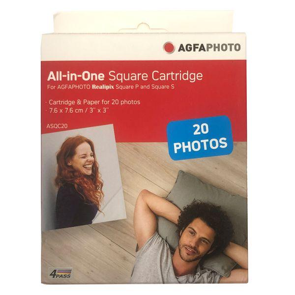 کاغذ چاپ عکس گلاسه آگفافوتو مدل Realipix Square S ASQC20 سایز 7.6x7.6 سانتی متر بسته 20 عددی