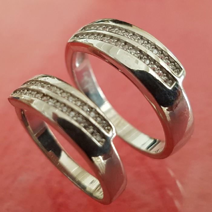 ست انگشتر نقره زنانه و مردانه کد P666
