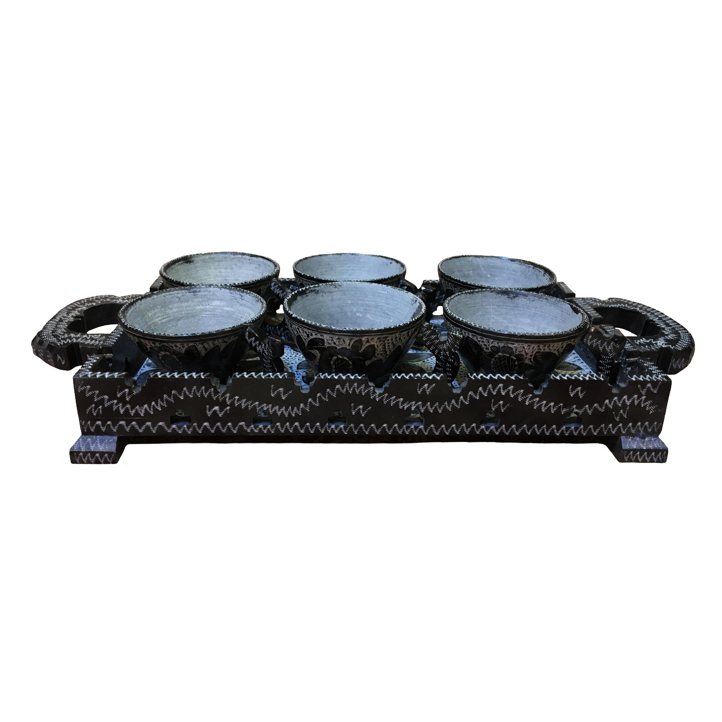 سرویس چای خوری سنگی طرح آنتوریم مجموعه  7 عددی